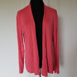 Eileen Fisher pink silk blend open front cardigan